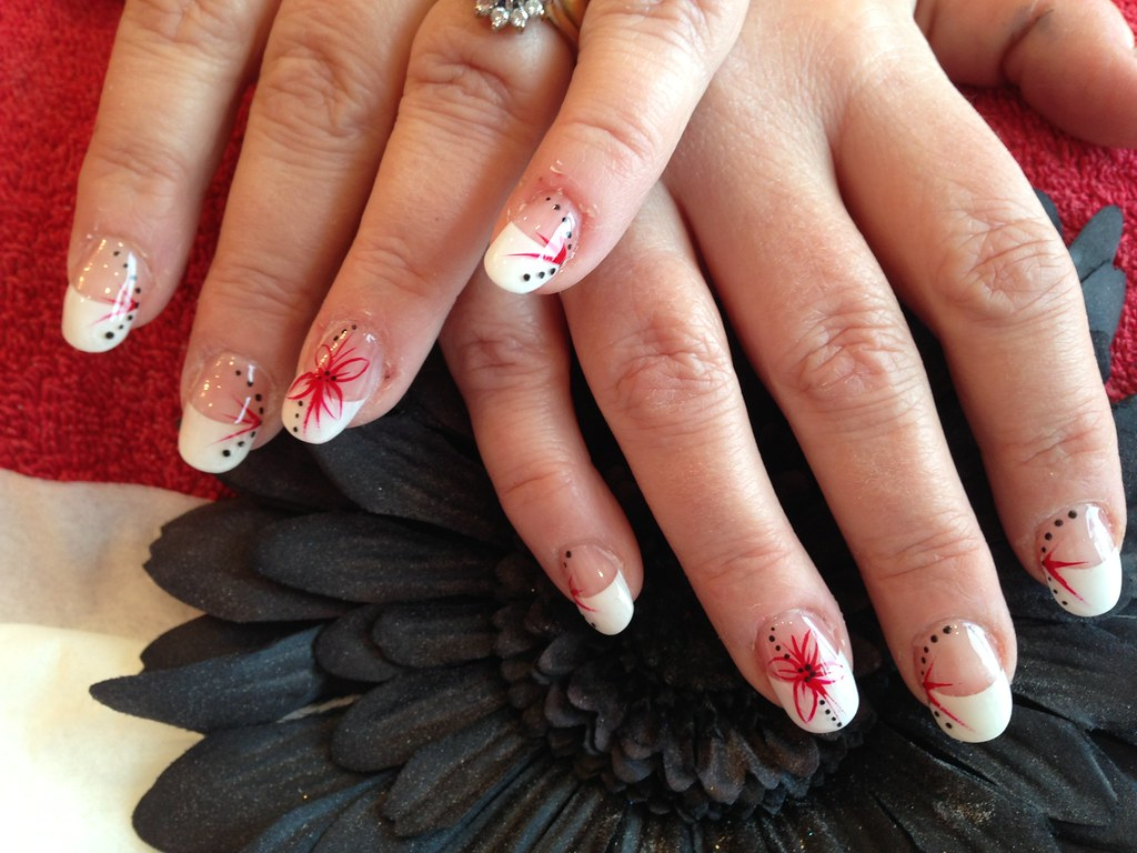 Full set of acrylic nails with white tips ,red and black f…   Flickr