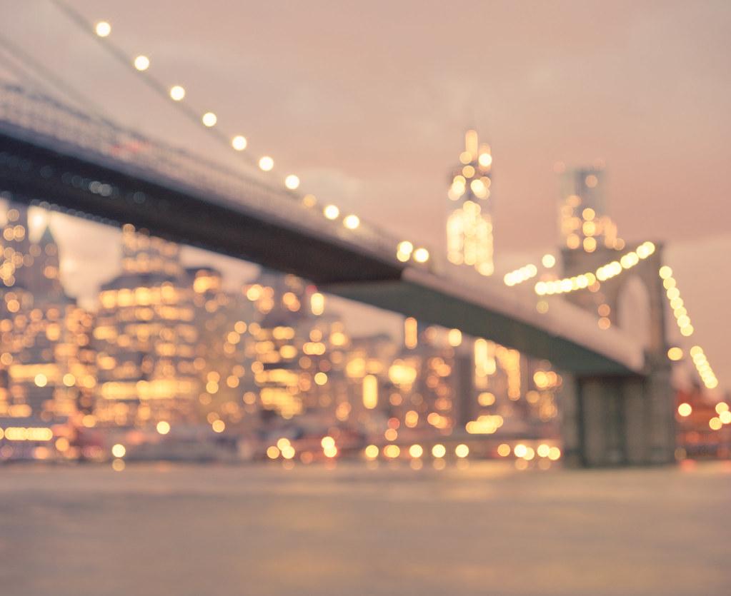 New York Night Lights Brooklyn Bridge