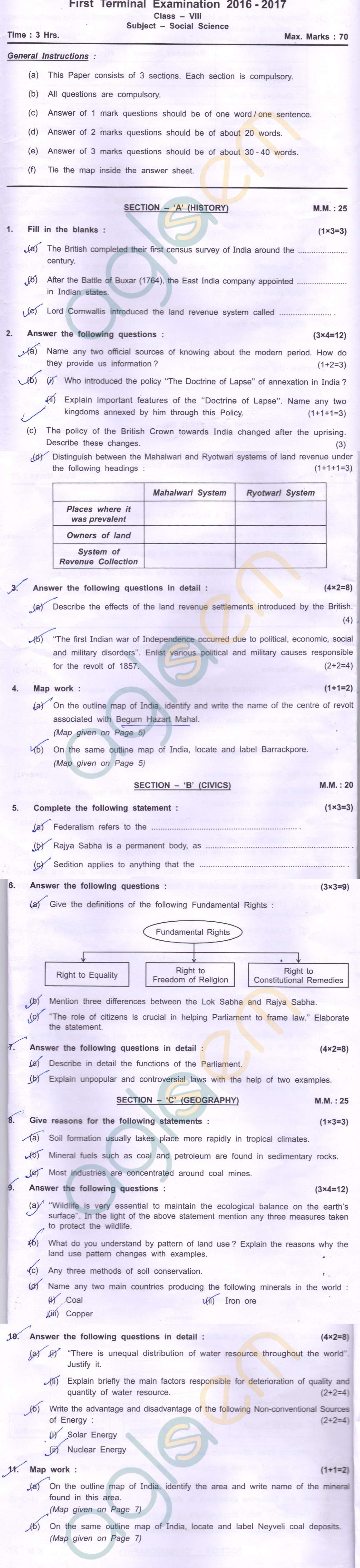 CBSE Class 08 SA1 Question Paper – Social Science – AglaSem Schools