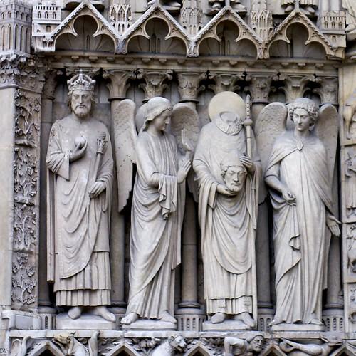 Paris  Kathedrale Notre Dame  Marienportal  Notre Dame Cat