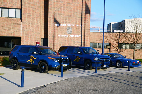 Michigan State Police Cars In Front Of Training Academy