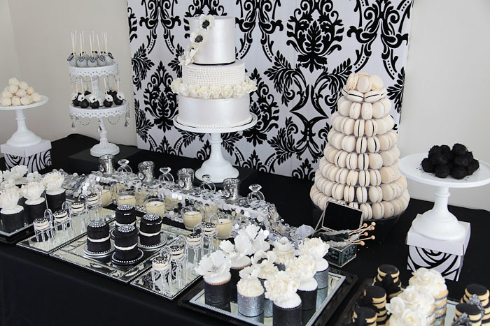 Glamorous Black And Silver White Dessert Table By Divi