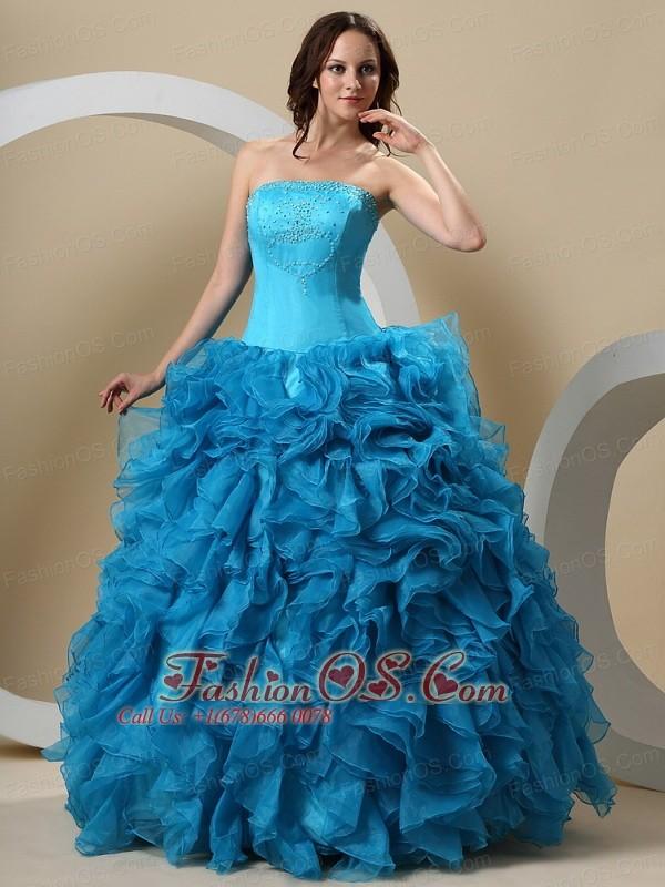 Teal Quinceanera Dresses 2013 Teal Beaded Dec...