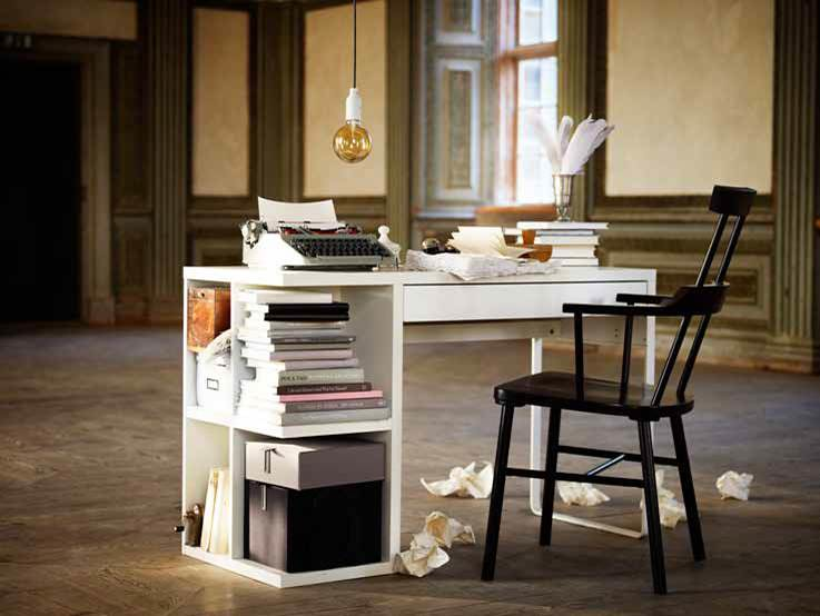 Micke desk with integrated storage growswedes