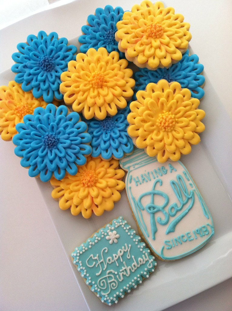 Blue And Yellow Zennia S In A Mason Jar Design By
