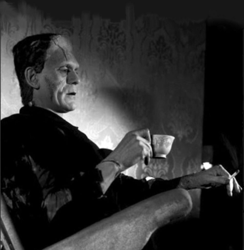 Frankenstein Smoking A Cigarette And Drinking Tea