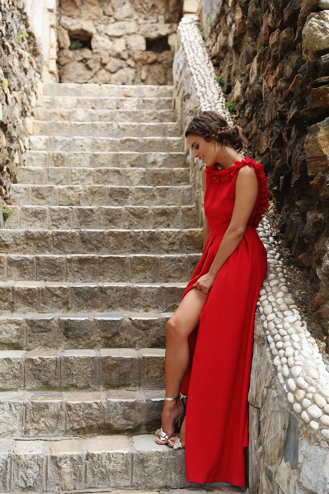 Jessie Chanes Seams for a Desire Apparentia Red Long Dress-11