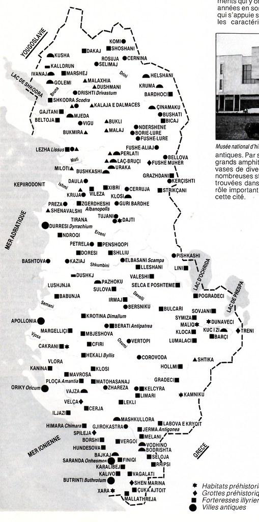 harta e qendrave arkeologjike t u00eb shqip u00ebris u00eb  archaeologica