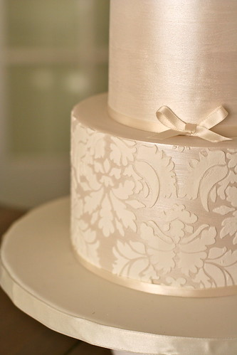 Shimmer and Damask Wedding Cake | by Sweet Lauren Cakes