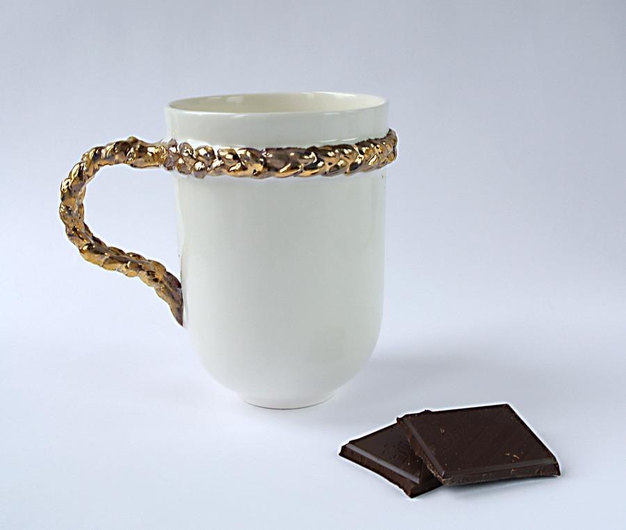 White Ceramic Mug With Braid Handle By Kina Ceramic Design
