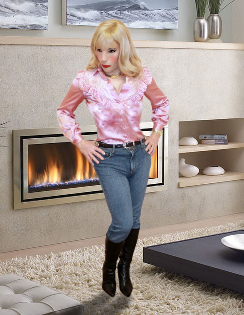 Kathy Leigh Mauve Satin Top And Tight Jeans  Any Of Yall -9961