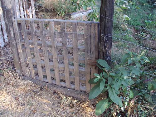 Puerta baja con palet de reciclaje