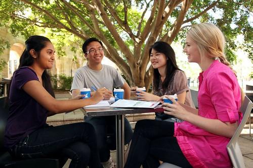 Students enjoying a study break