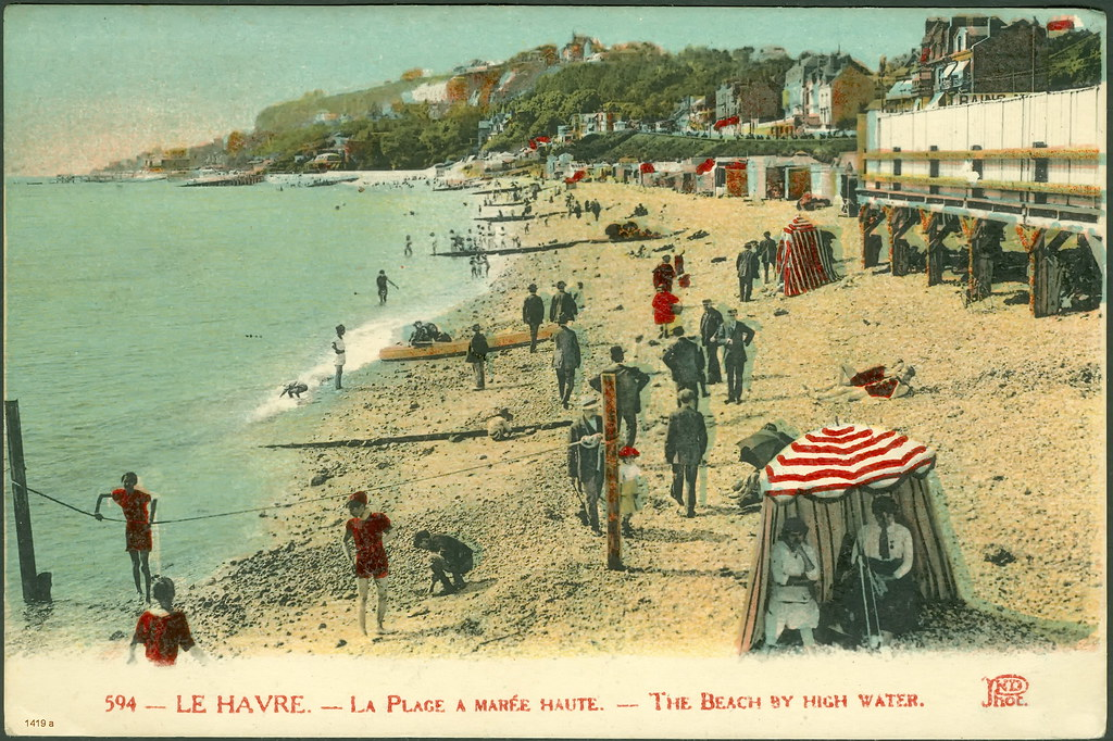 Le havre la plage a mar e haute 1924 1419 r a le for 3d architecture le havre