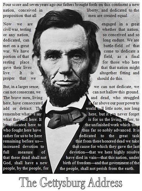 Gettysburg Address - Abraham Lincoln (text wrapping example) - James Tiffin Jr.