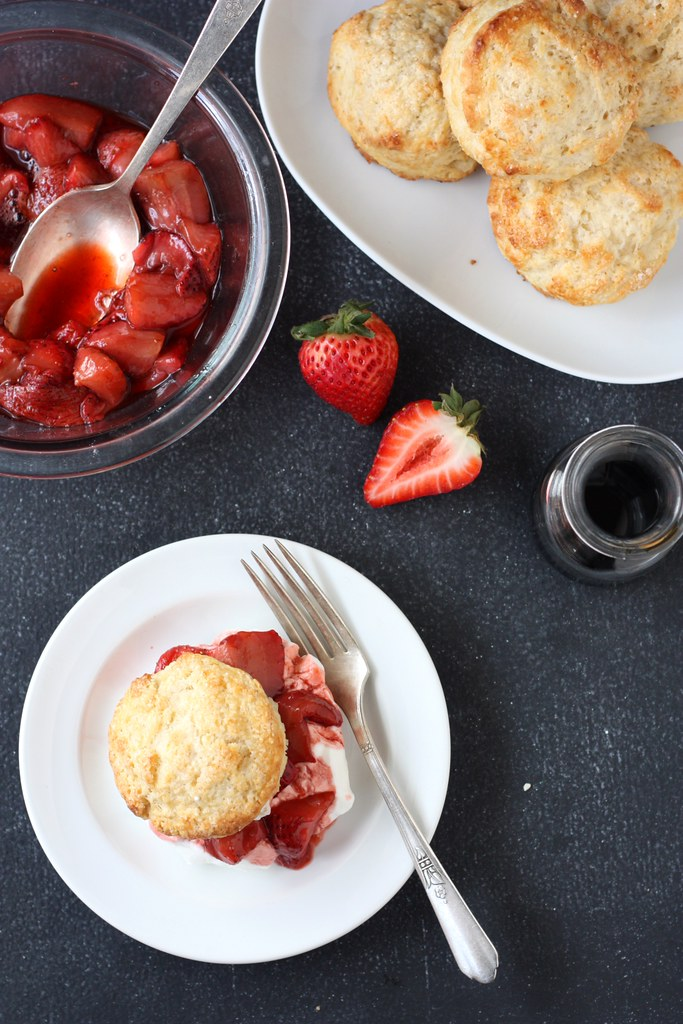 Roasted Balsamic Strawberries Shortcakes