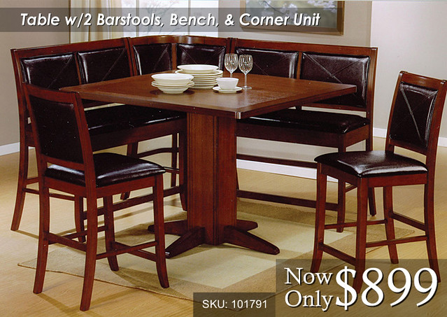 Table with 2 Barstools Bench & Corner unit