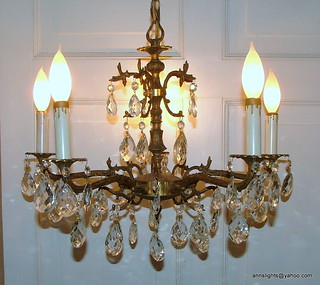 Vintage 50 Prism Brass Chandelier Lighting Made In Spain H