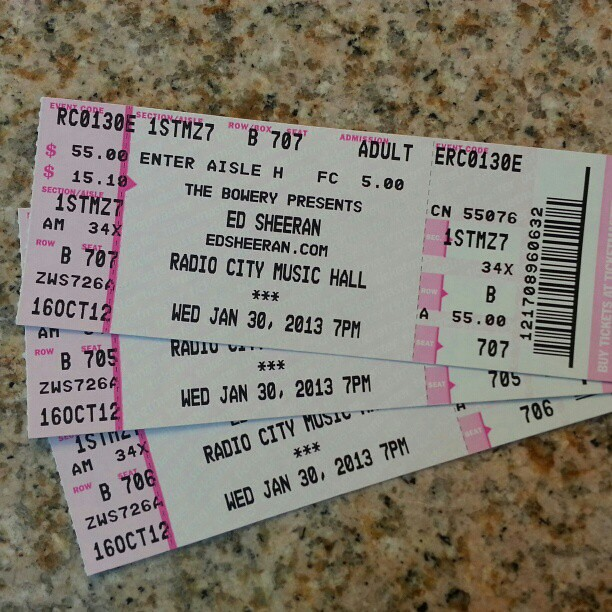 my daughter 39 s ed sheeran tickets for tonight radio city mu flickr. Black Bedroom Furniture Sets. Home Design Ideas