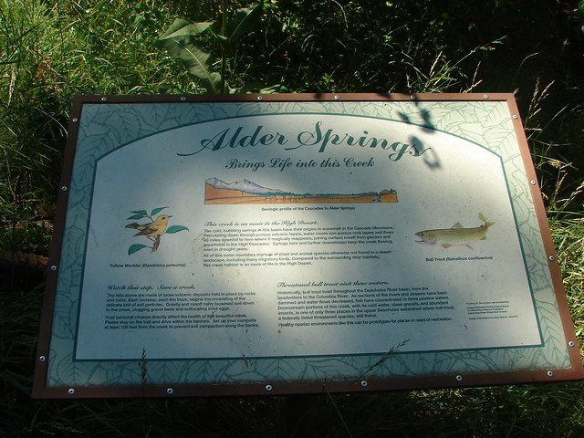 Interpretive sign at Alder Springs
