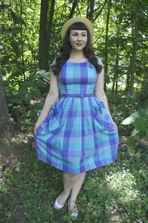 purple plaid dress