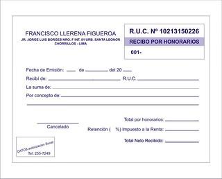 Recibo por honorarios a domicilio lima peru a imprenta for Nominas para rellenar