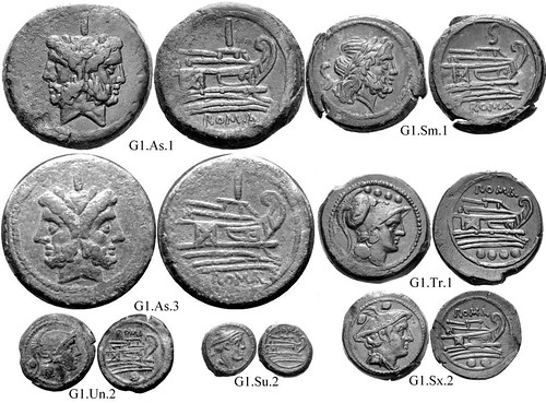 G1 Roman Republican Anonymous struck bronzes McCabe group G1, RRC56 Neat high-relief devices, well-centered on broad flans. Line-bounded bulbous prowstems. Small Janus heads. 40 gram As. | by Ahala