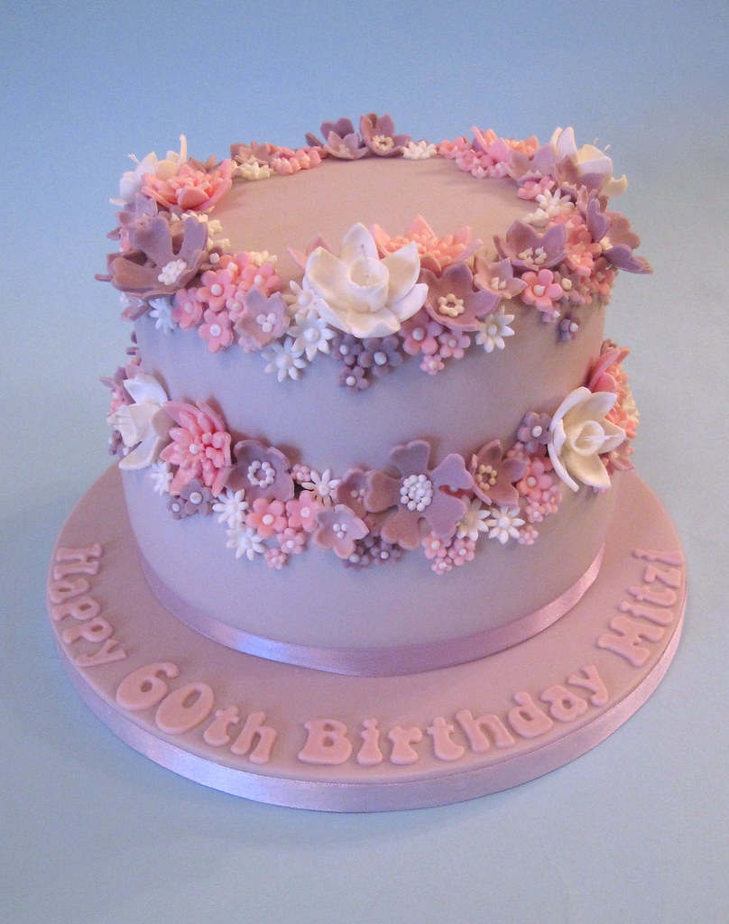 Pretty 60th Birthday Cake | A pretty sherbet coloured ...