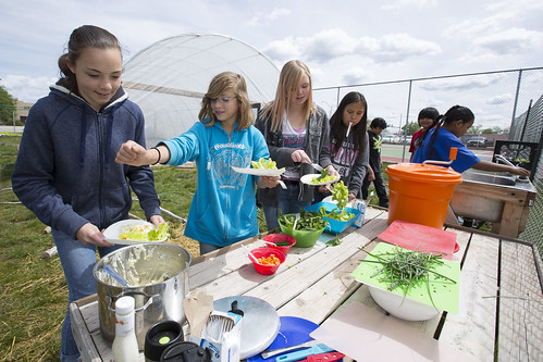 Cortez Middle School students sampling produce