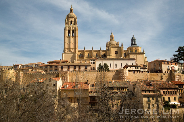 The walled town of Segovia is topped by its impressive cathedral.
