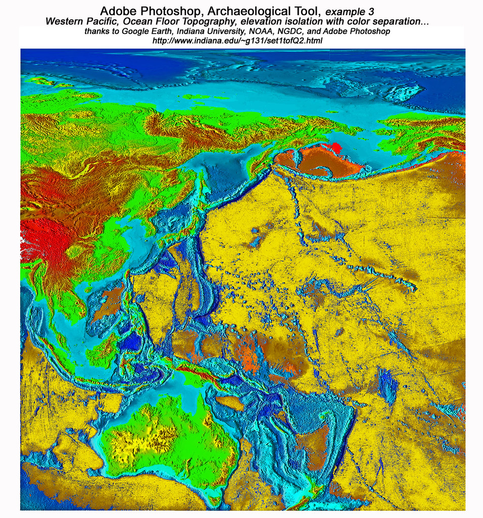 ... Western Pacific, With The Ocean Floor Topography Highlighted By Adobe  Photoshop Color Separation | By