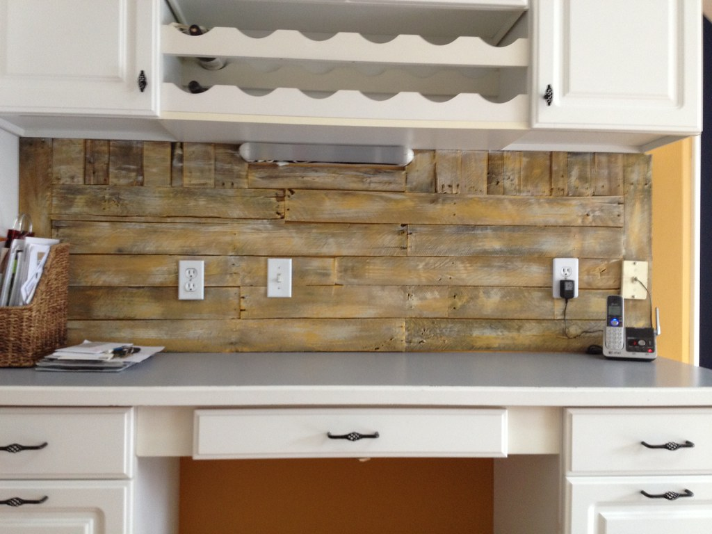 Pallet Backsplash Complete Two Deconstructed Pallets