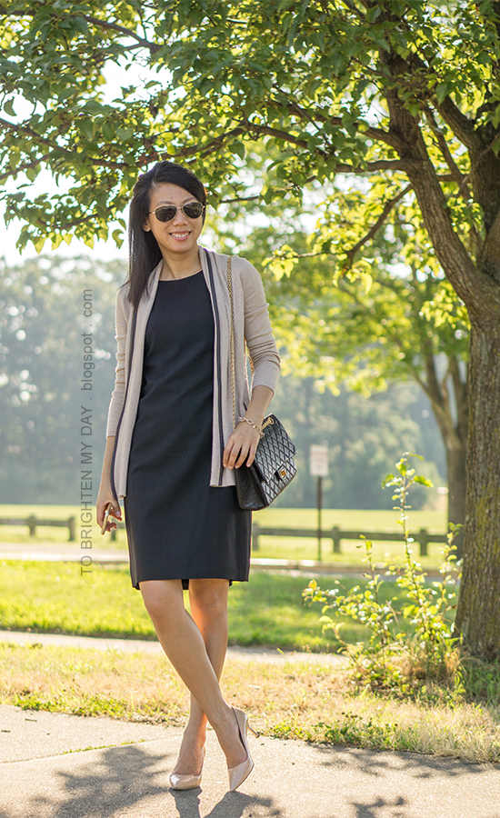 camel piped open cardigan, black shift dress, nude pumps, black shoulder bag