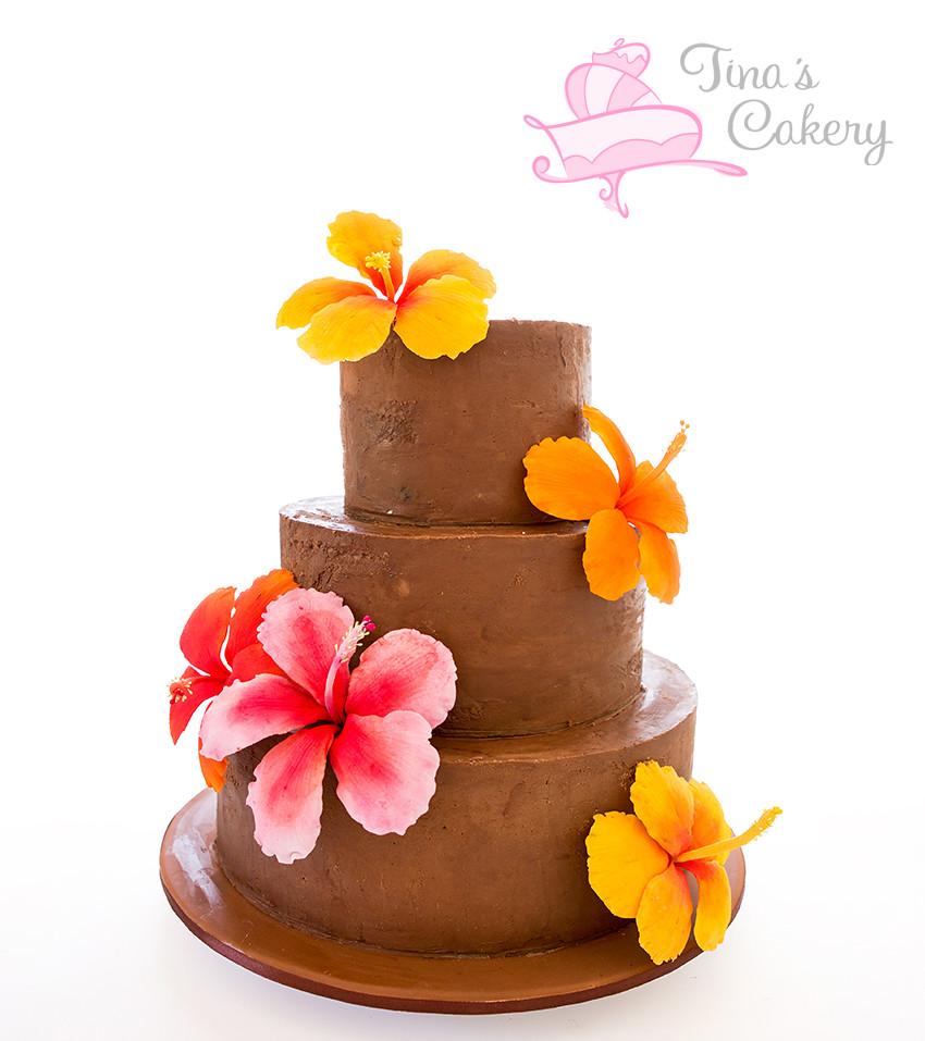 Ganache hibiscus cake a chocolatebanana and vanilla mud c flickr ganache hibiscus cake by tinas cakes izmirmasajfo Gallery