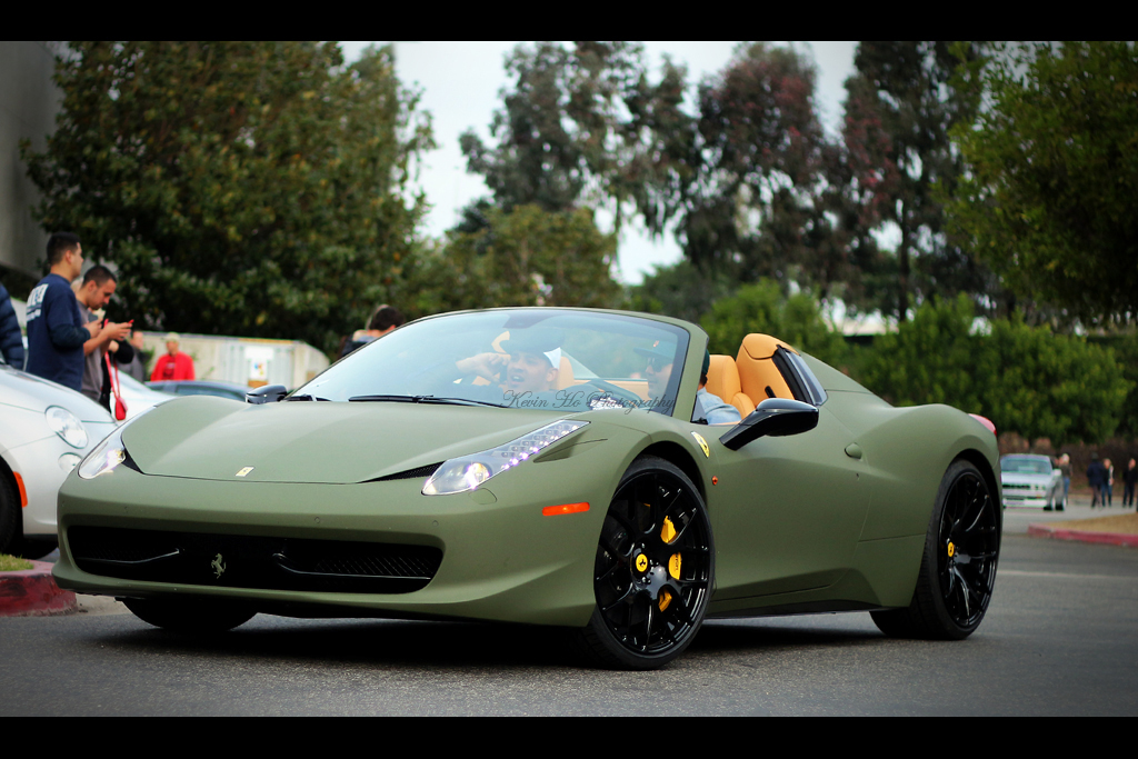 Camel Spider A Matte Green Ferrari 458 Spider Showed Up
