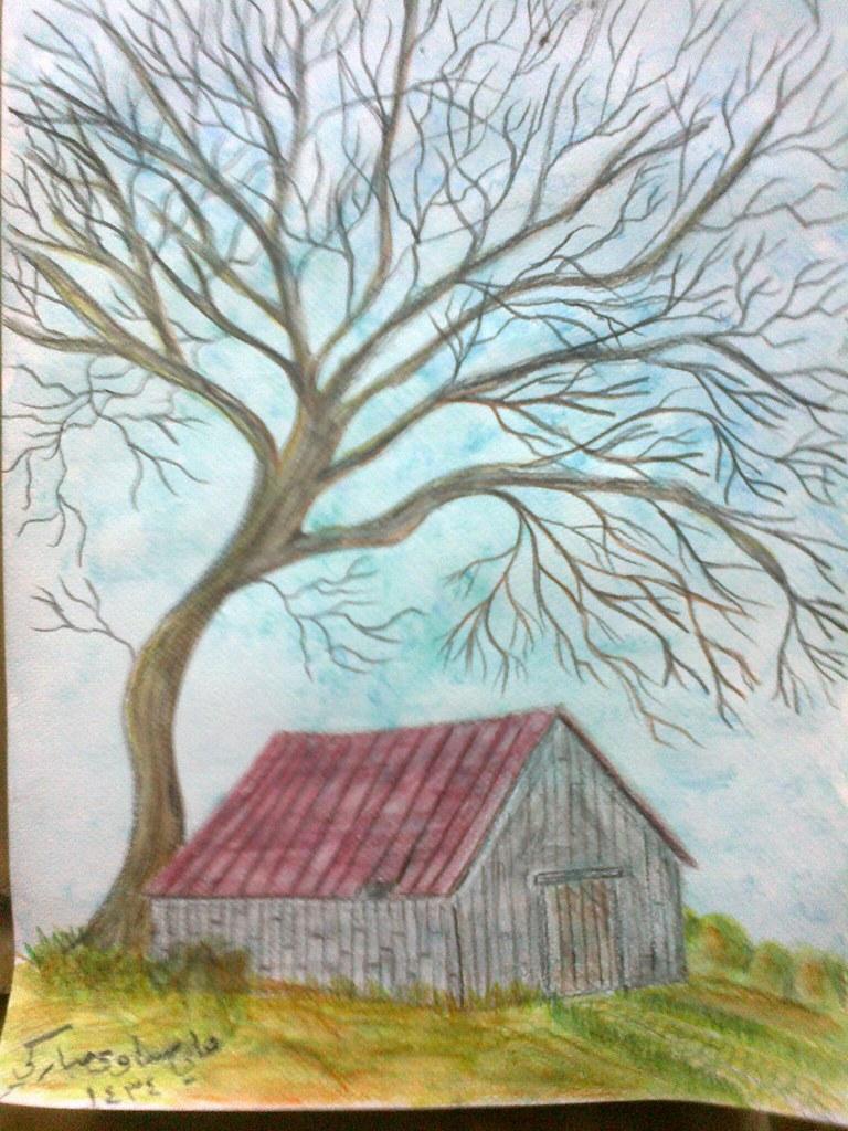 رسم كوخ خشبي و شجرة كبيرة ميتة Draw a Log cabin and a larg ...