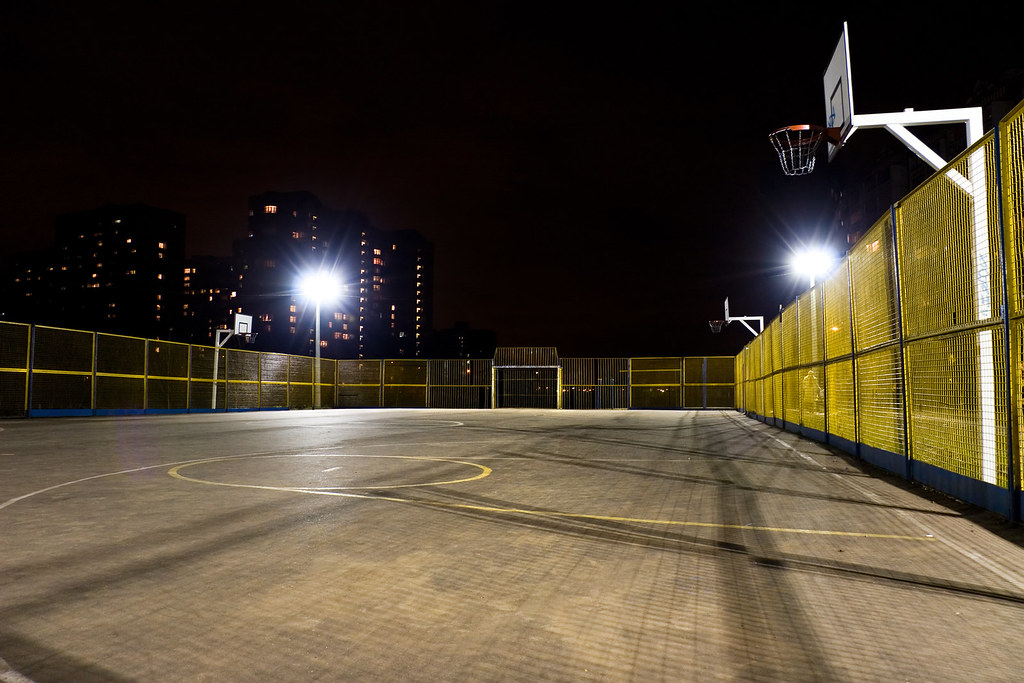 Outdoor basketball court in city