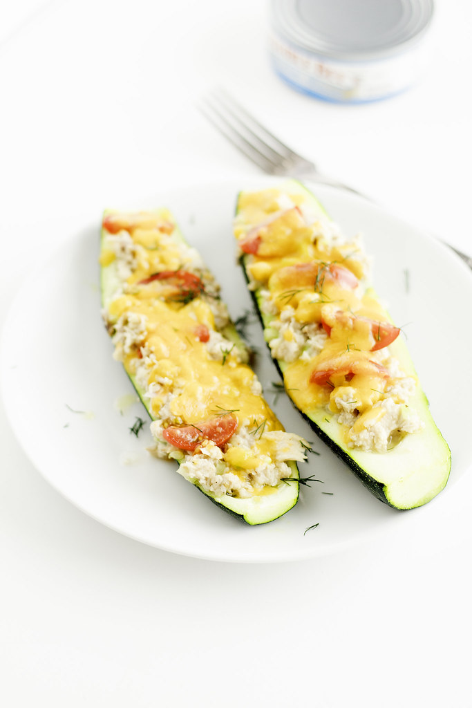 low carb zucchini tuna melts