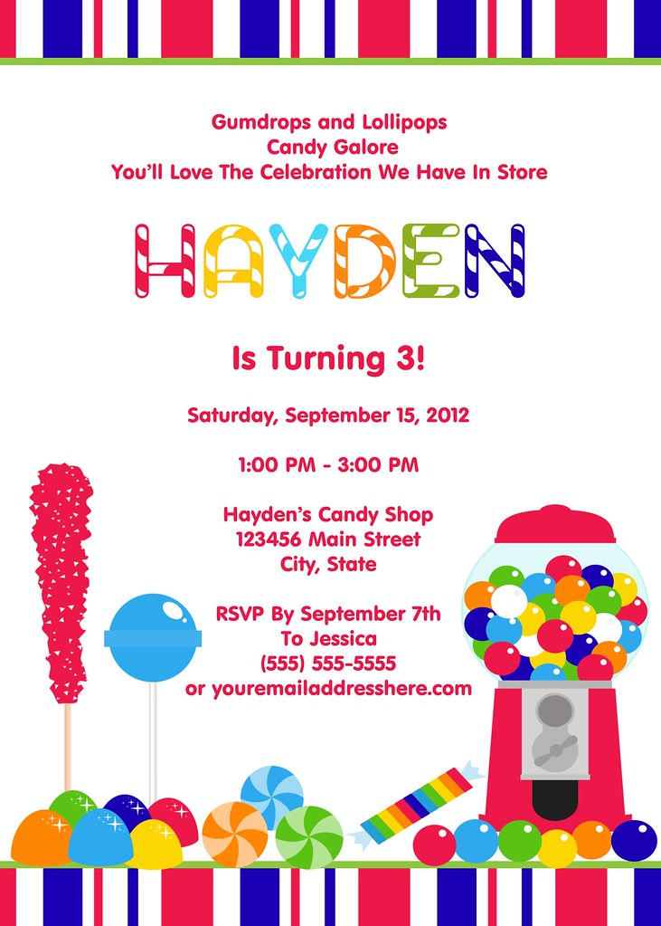 Printable Boys Candy Shop Birthday Party Invitation – Boys Party Invite