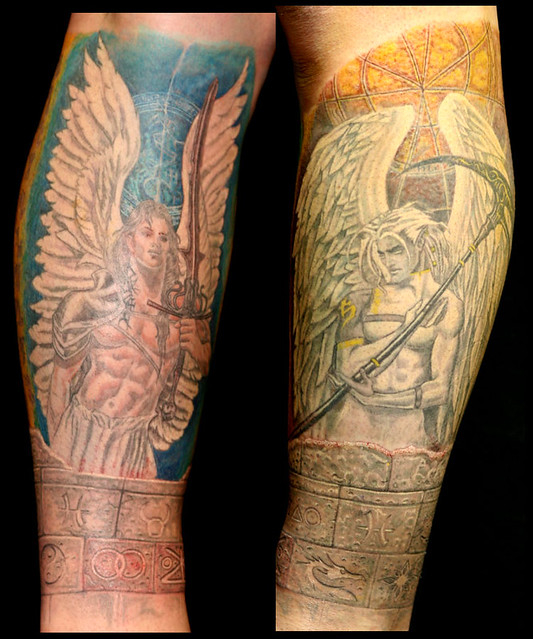 Stone carved wall angel lower leg sleeve