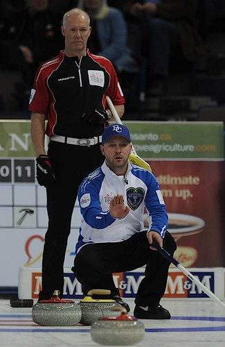 Edmonton Ab.Mar2,2013.Tim Hortons Brier.B.C. skip Andrew Bilesky,Ontario skip Glenn Howard.CCA/michael burns photo | by seasonofchampions