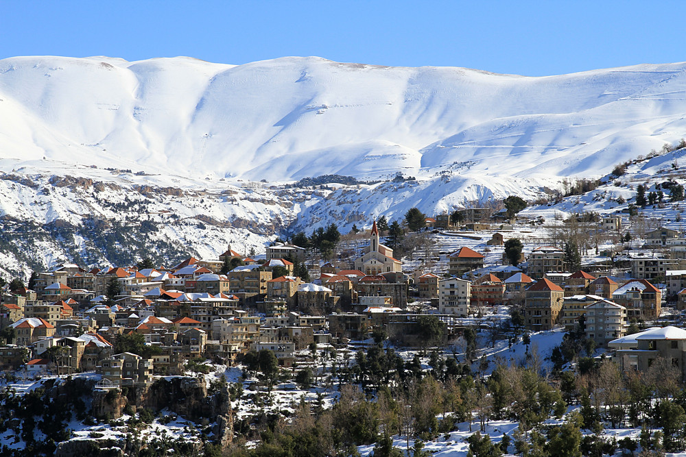 Hasroun Lebanon The Red Roofs Of The Village Of