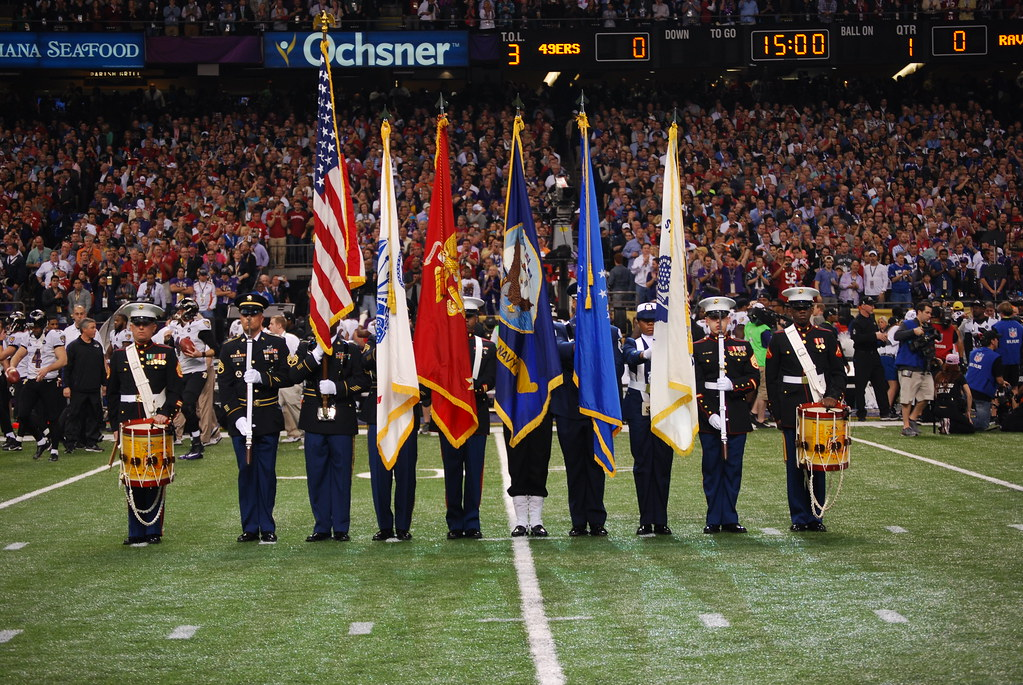 Joint Armed Forces Color Guard At Super Bowl Local