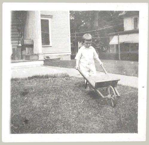 Boy and a wheel barrow