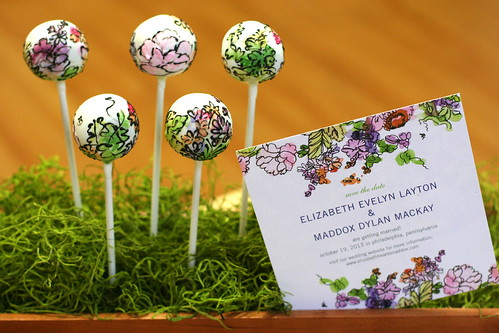 Watercolor Cake Pops with Matching Wedding Invitation | by Sweet Lauren Cakes
