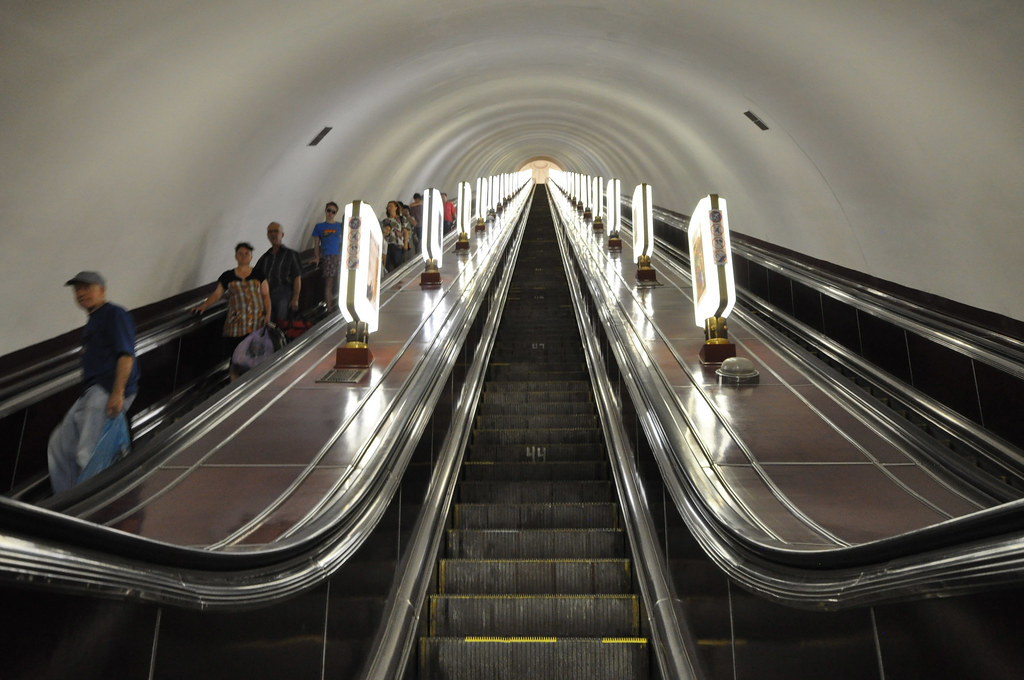 Escalators At The Deepest Metro Station Of The World Arse
