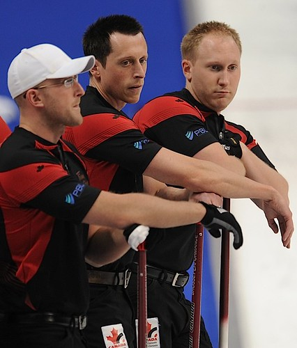 Victoria B.C.April 4,2013.Ford Men's World Curling Championship.Canada skip Brad Jacobs,lead Ryan Harnden,second E.J.Harnden.Sweden skip Niklas Edin.CCA/michael burns photo | by seasonofchampions