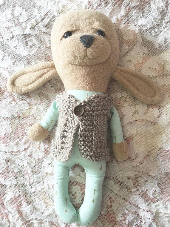 homemade stuffed bunny with aqua arrow pajamas