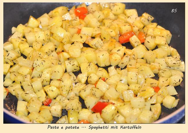 Italienisch - vegetarisch - Spaghetti mit Kartoffeln und Pesto - Pasta e patate - lecker. Fotos und Collagen: Brigitte Stolle