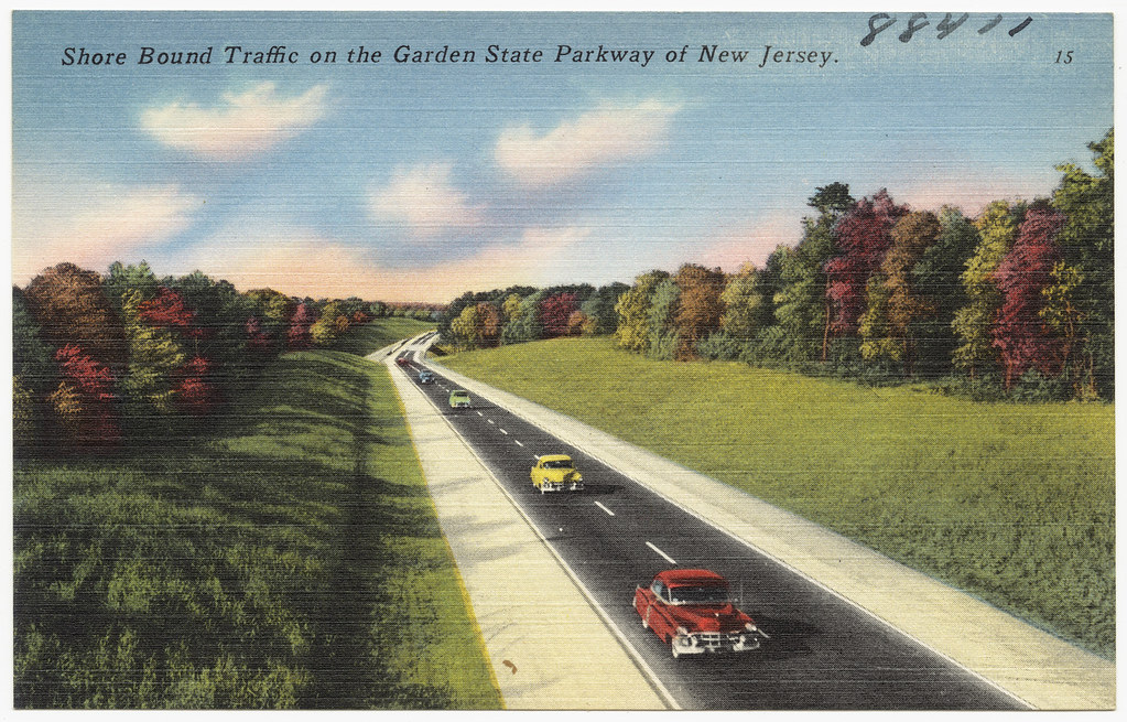 Shore Bound Traffic On The Garden State Parkway Of New Jer